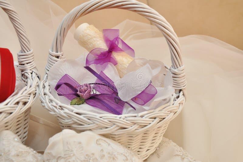 Hochzeitsdetails, Zubehör für Heiratshalle stockbild