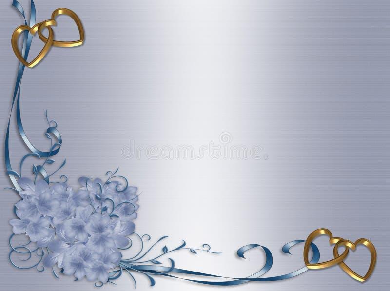 Hochzeitseinladung blauer Satin-Blumenrand vektor abbildung