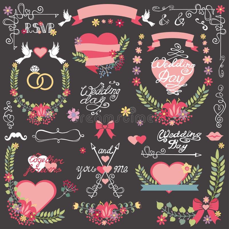 Hochzeitseinladung Blumendekor Toolkit Kranz, Herz, Schlagzeile vektor abbildung