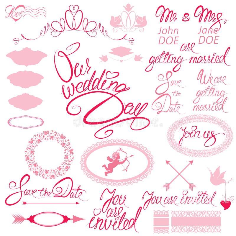 Hochzeitseinladung eingestellt mit Florenelementen stock abbildung