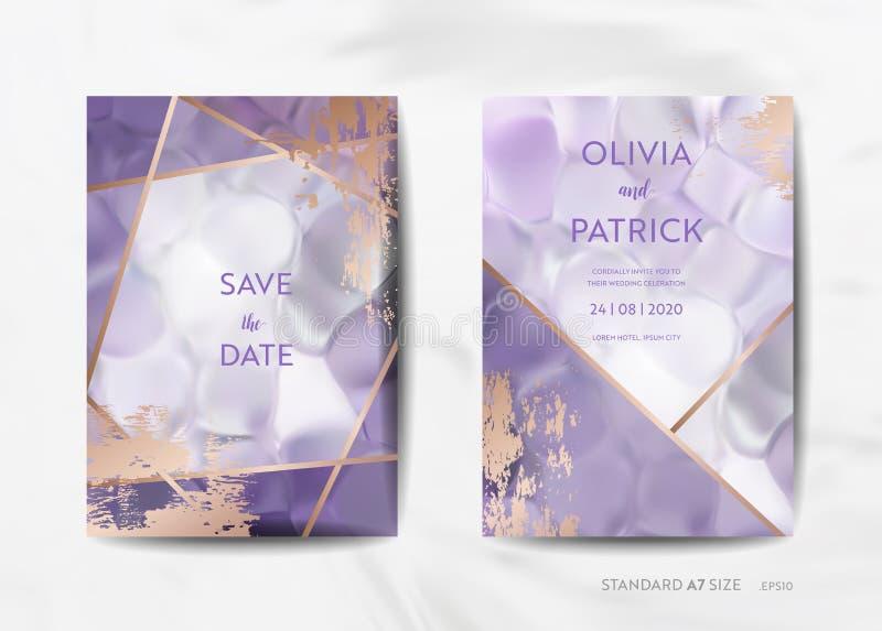 Hochzeitseinladung kardiert Sammlung Sparen Sie das Datum, RSVP mit Art- DecoRahmen des modischen violetten Beschaffenheitshinter vektor abbildung