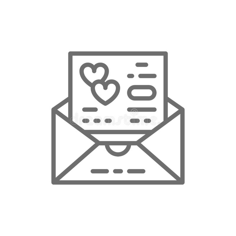 Hochzeitseinladung, lieben Karte, Umschlaglinie Ikone vektor abbildung