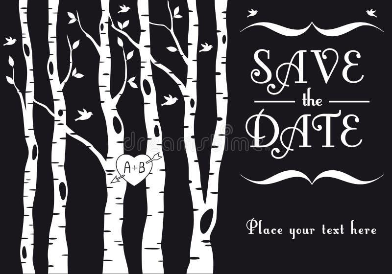 Hochzeitseinladung mit Birkenbäumen, Vektor stock abbildung