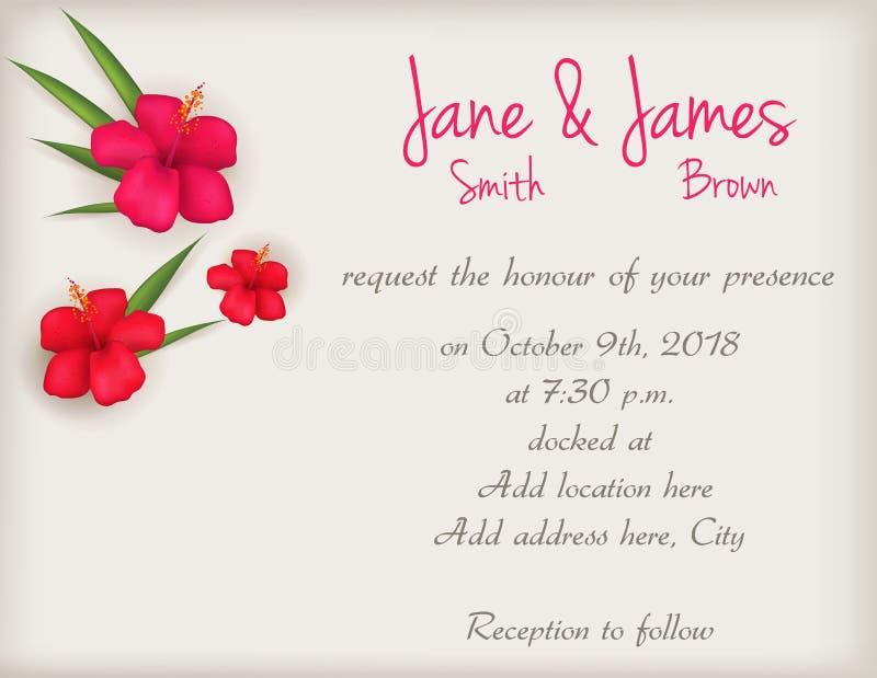 Hochzeitseinladung mit Hibiscusblumen lizenzfreie abbildung