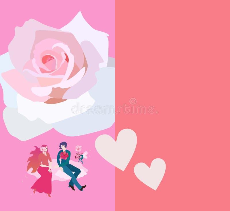 Hochzeitseinladung mit jungem Fliegen des glücklichen Paars auf Wolken und einer enormen weißen Rose über ihnen Raum für Text vektor abbildung