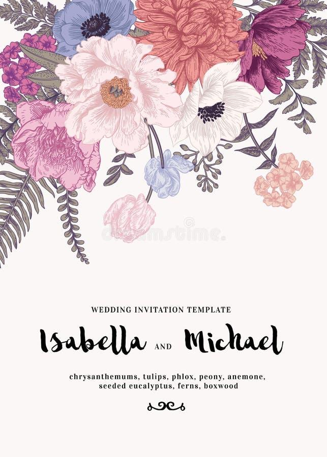 Hochzeitseinladung mit Sommerblumen lizenzfreie stockbilder
