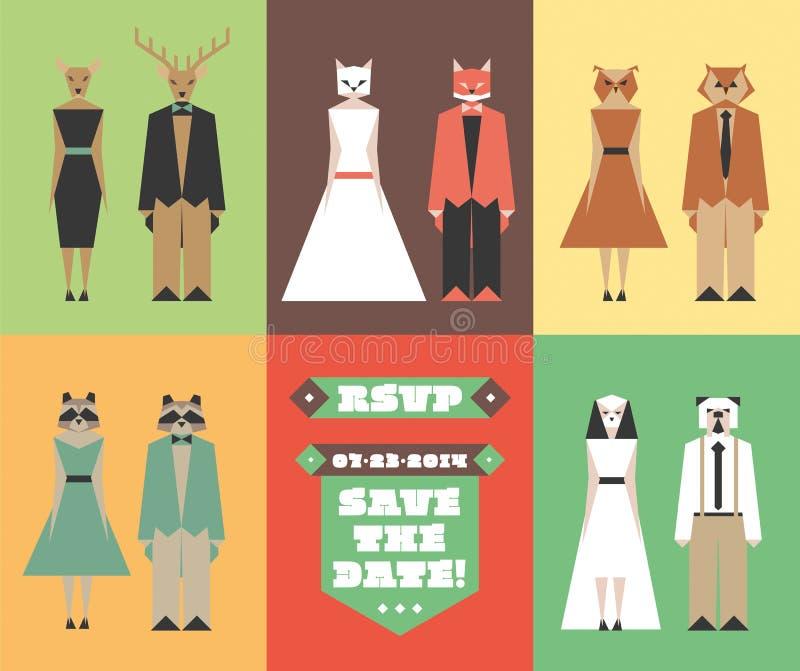 Hochzeitseinladung mit Tierhauptfigürchen lizenzfreie stockfotografie