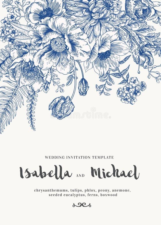 Hochzeitseinladungen mit Sommerblumen stockfoto