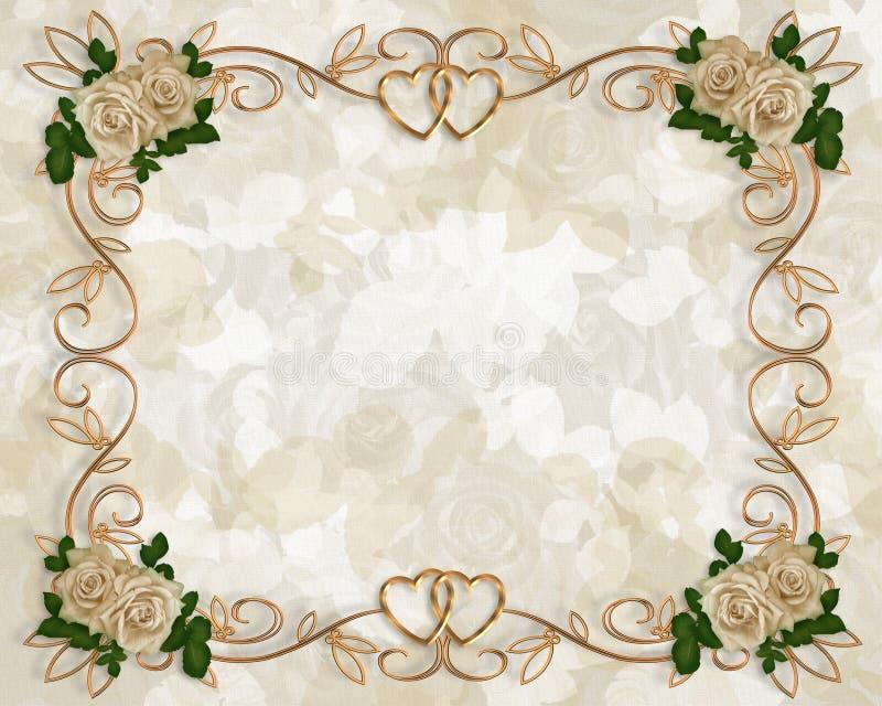 Hochzeitseinladungs-Antikerosen lizenzfreie abbildung
