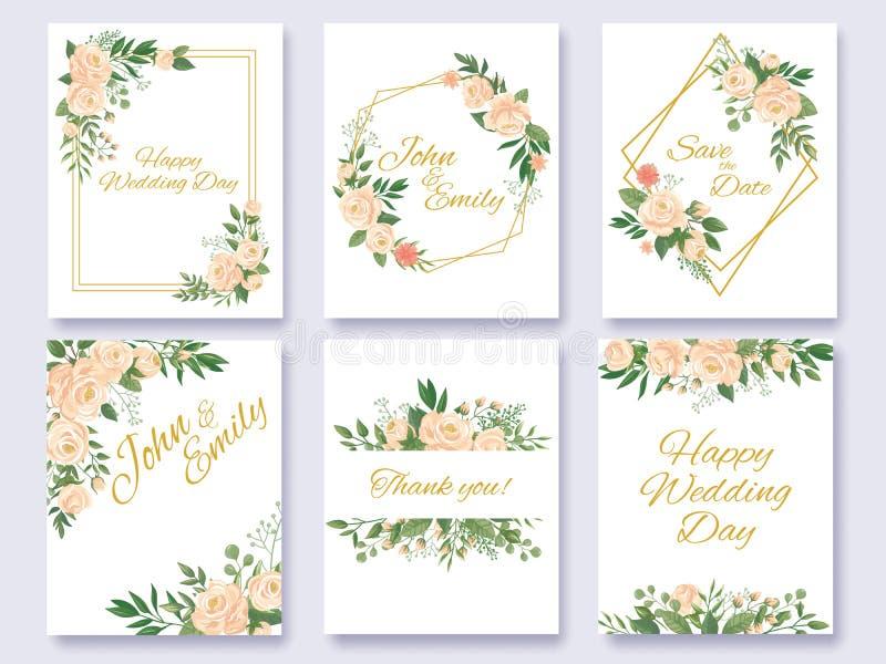 Hochzeitseinladungs-Blumenkarte Blumenrahmen, stiegen Blumenrahmen und Blumeneinladungskartenschablonenvektor stock abbildung