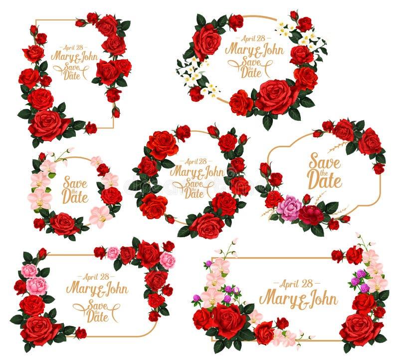 Hochzeitseinladungs-Blumenrahmen mit Abwehr das Datum stock abbildung