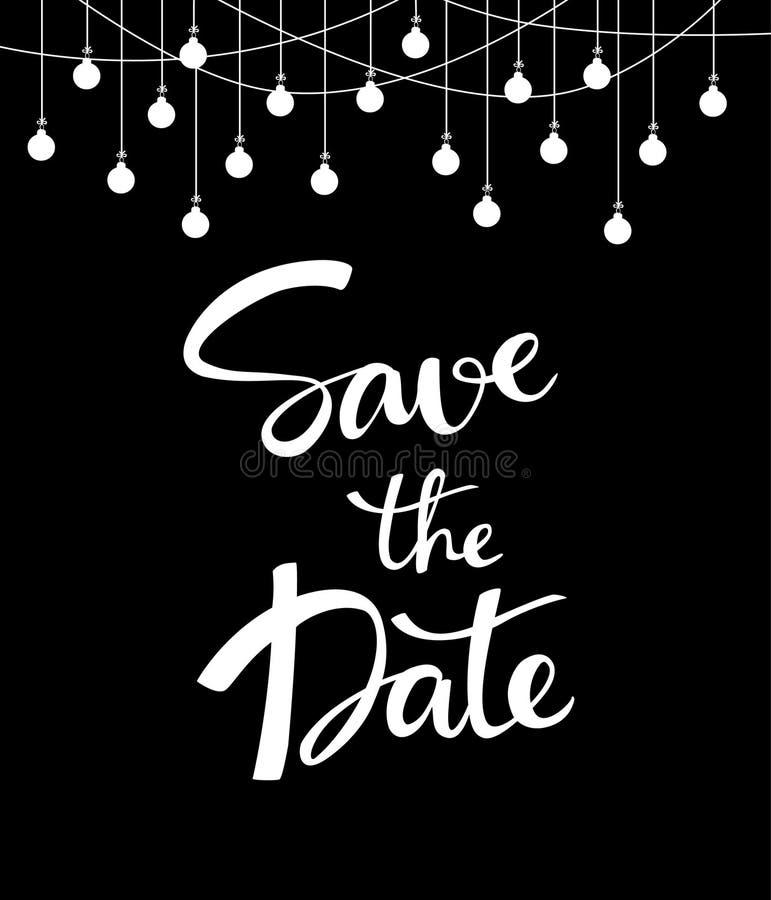 Hochzeitseinladungs-Kartenhintergrund mit Hand schriftlicher Abwehr die Datumsphrase vektor abbildung