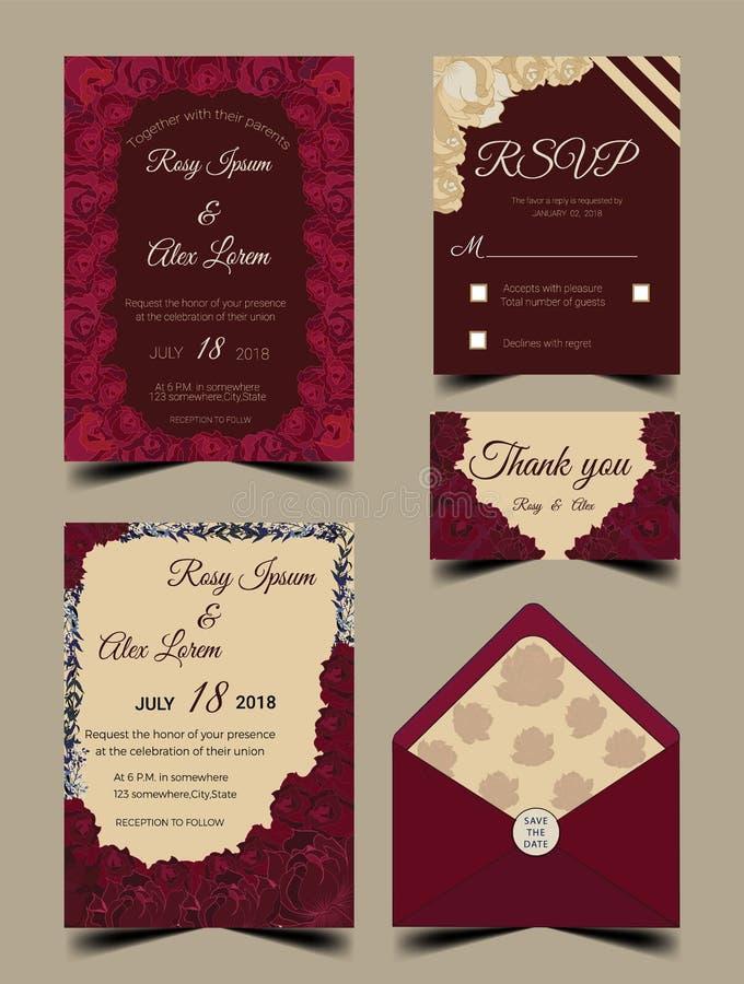 Hochzeitseinladungs-Kartenreihe mit Blume Schablonen lizenzfreie abbildung