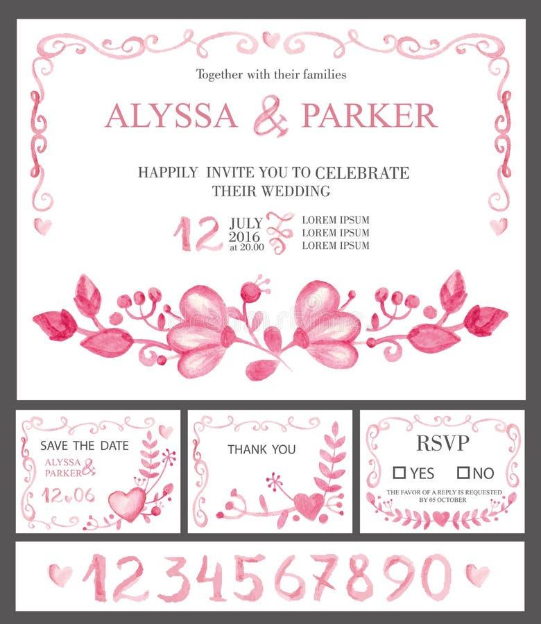 Hochzeitseinladungs-Kartensatz Rosa Blumen des Aquarells, Zahlen vektor abbildung