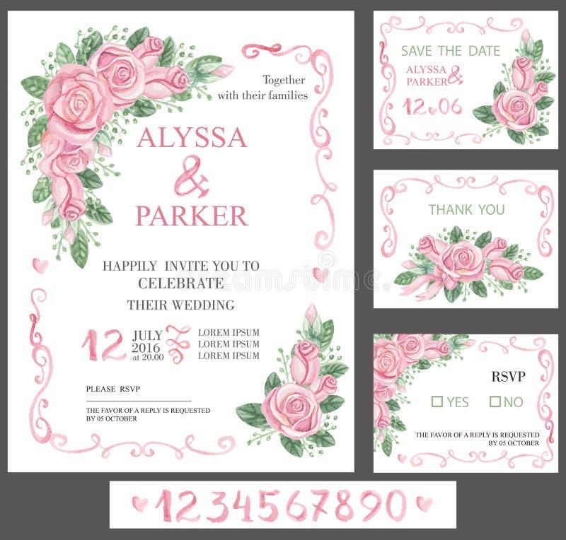 Hochzeitseinladungs-Kartensatz Rosa Rosen des Aquarells, Zahlen stock abbildung