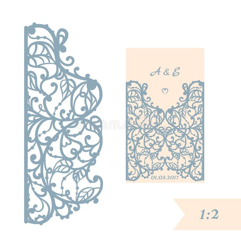 Hochzeitseinladungs- oder -grußkarte mit abstrakter Verzierung Vektorumschlagschablone für Laser-Ausschnitt Papierschnittkarte stock abbildung