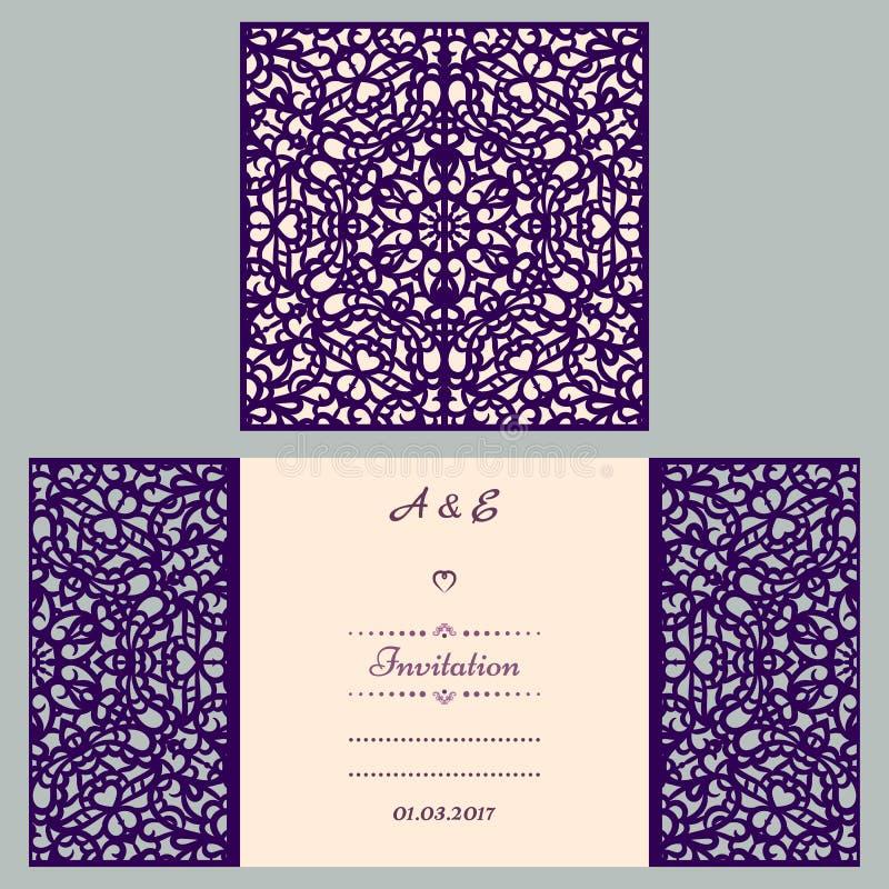 Hochzeitseinladungs- oder -grußkarte mit abstrakter Verzierung Vektorumschlagschablone für Laser-Ausschnitt Papierschnittkarte lizenzfreie abbildung