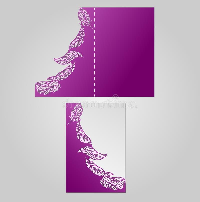 Hochzeitseinladungs- oder -grußkarte mit Pfaufeder vektor abbildung