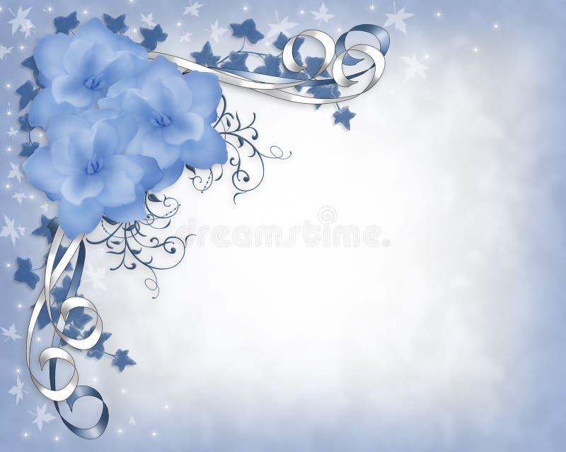 Hochzeitseinladungs-Rand blaue Gardenias mit Blumen lizenzfreie abbildung