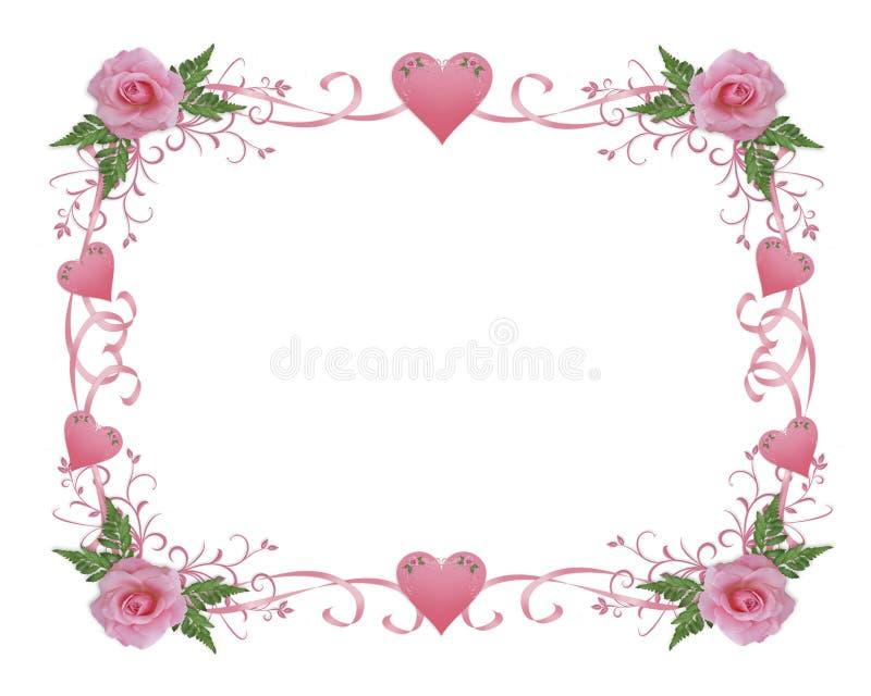 Hochzeitseinladungs-Randrosa stieg lizenzfreie abbildung