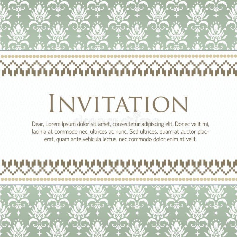 Hochzeitseinladungs- und -mitteilungskarte mit Weinlesehintergrundgrafik vektor abbildung