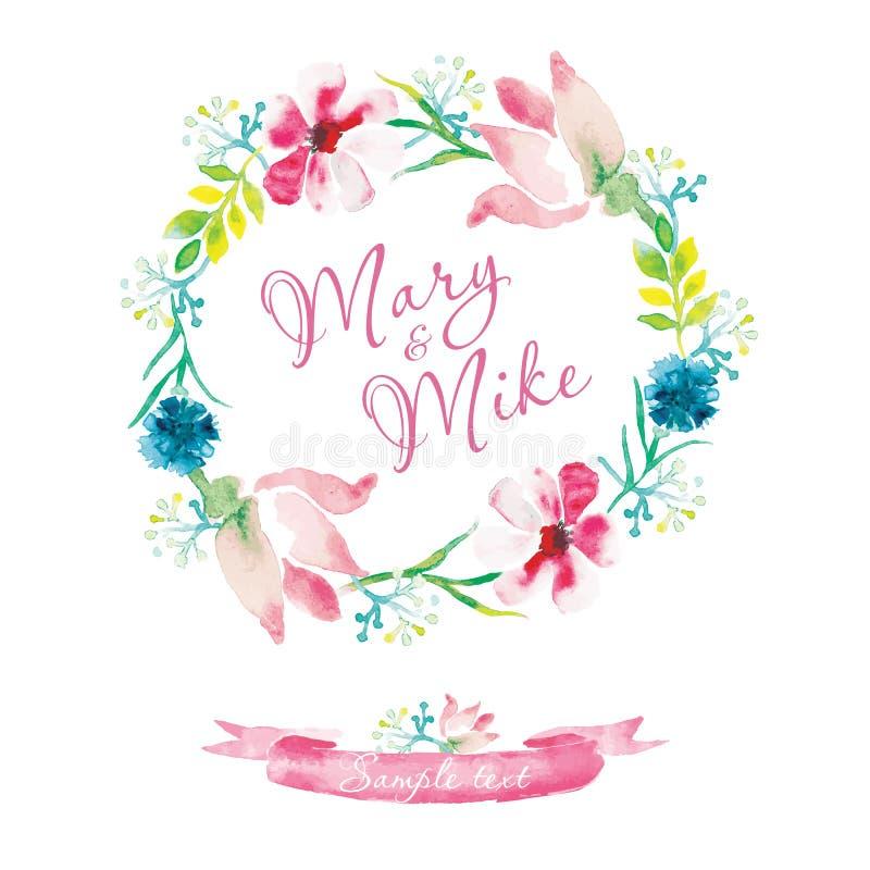 Hochzeitseinladungs-Weinlesekarte mit Aquarellelementen Handmalerei, leichte Blumen stock abbildung