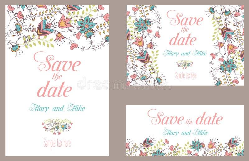 Hochzeitseinladungs-Weinlesekarte mit Blumen stock abbildung