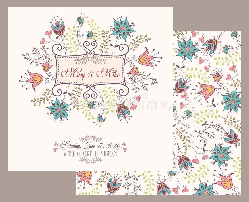 Hochzeitseinladungs-Weinlesekarte mit den Blumen- und antiken dekorativen Elementen lizenzfreie abbildung