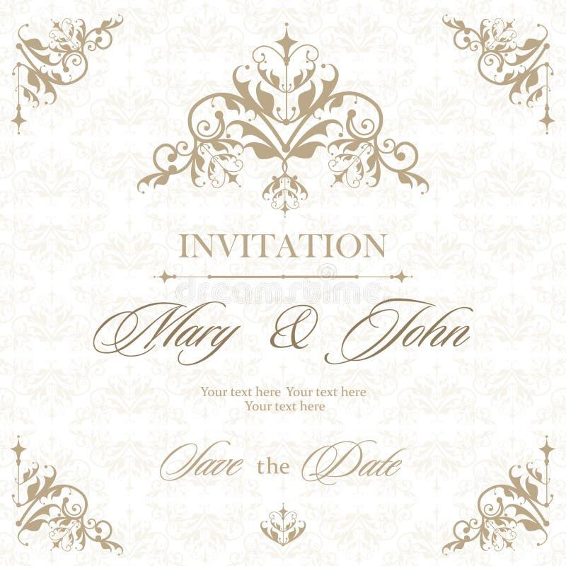 Hochzeitseinladungs-Weinlesekarte mit den Blumen- und antiken dekorativen Elementen Auch im corel abgehobenen Betrag vektor abbildung