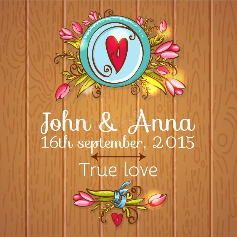 Hochzeitseinladungsabwehr die Datumskarten vektor abbildung