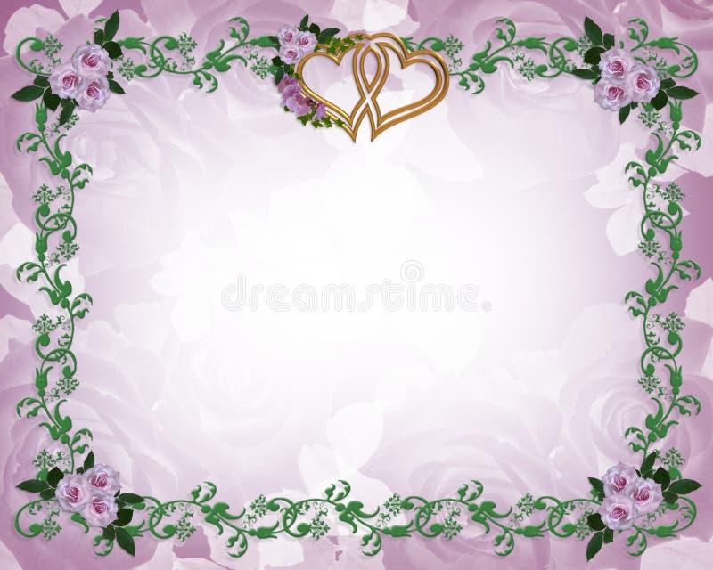 Hochzeitseinladungsblumenrand-Lavendelrosen stock abbildung