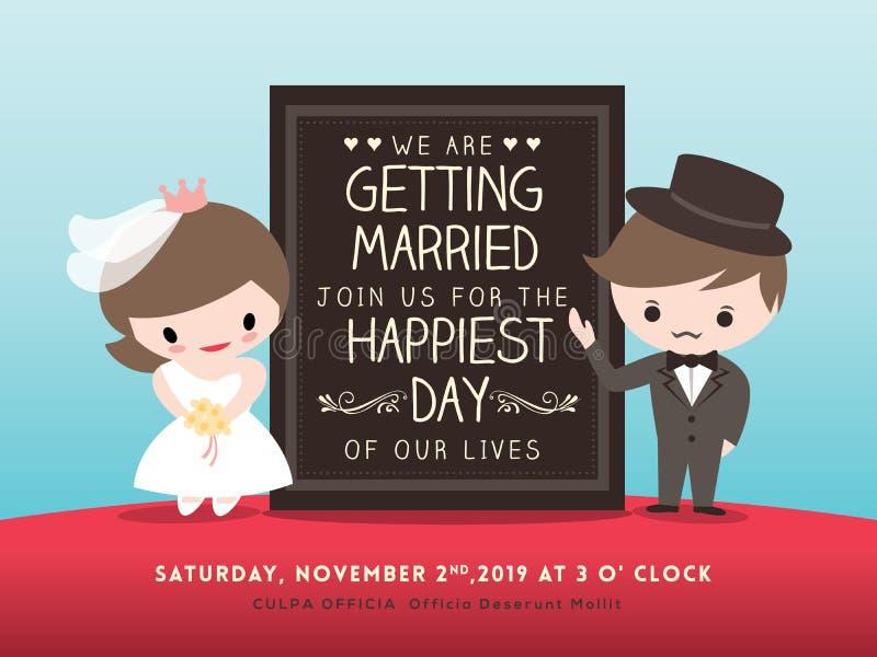 Hochzeitseinladungsbrett mit Bräutigam- und Brautkarikatur vektor abbildung