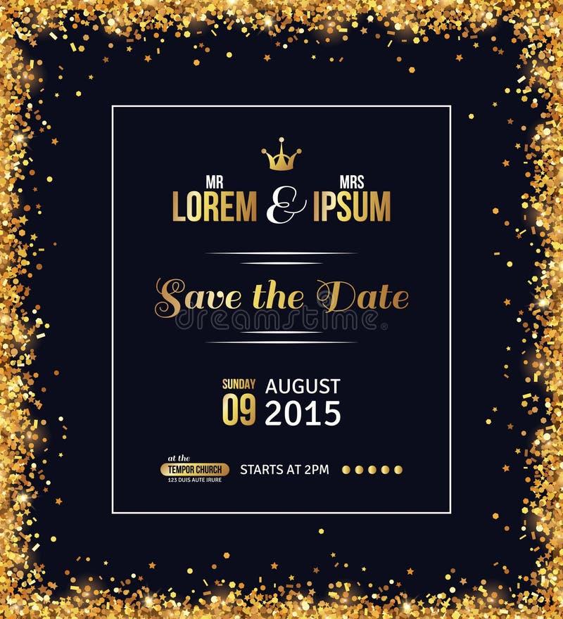 Hochzeitseinladungsdesign mit Goldkonfettis lizenzfreie abbildung