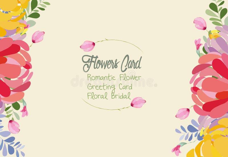 Hochzeitseinladungskarte mit Blume Schablonen auf weißem Hintergrund lizenzfreie abbildung