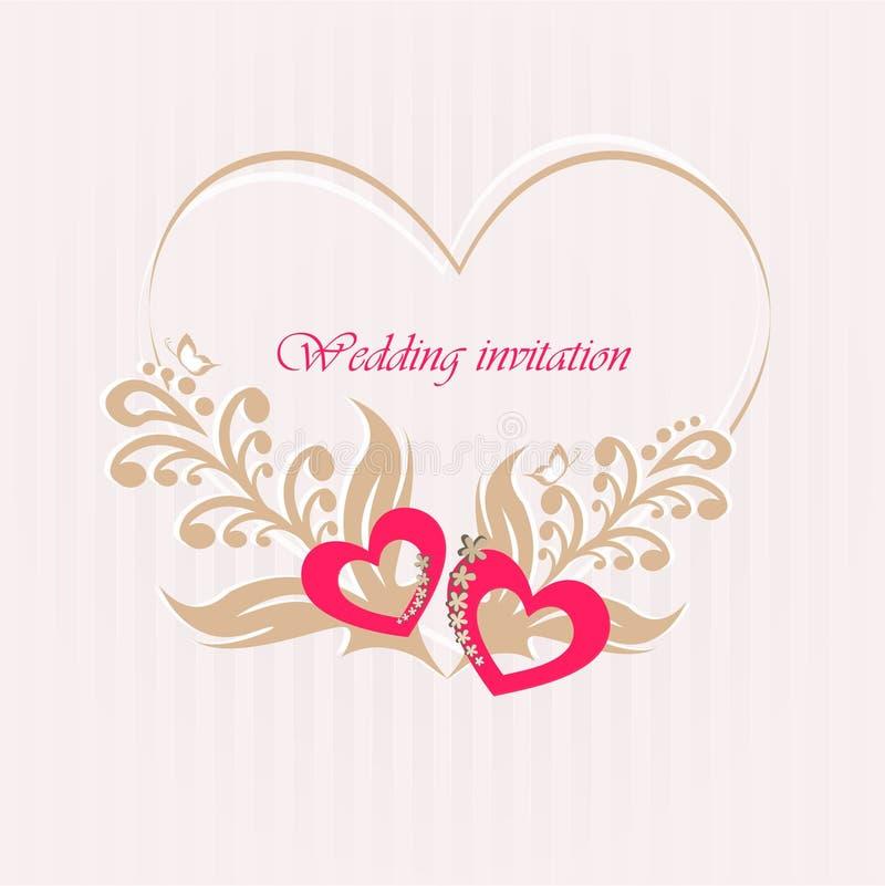 Hochzeitseinladungskarte mit dekorativen Herzen. stock abbildung