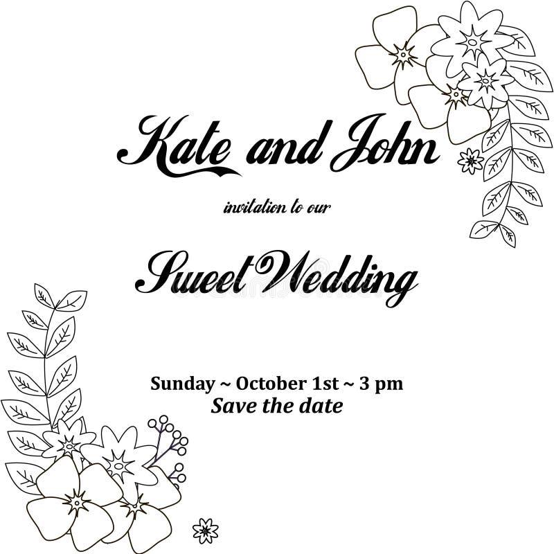 Hochzeitseinladungskarte Mit Dem Blumenrahmen, Für Feiertage ...