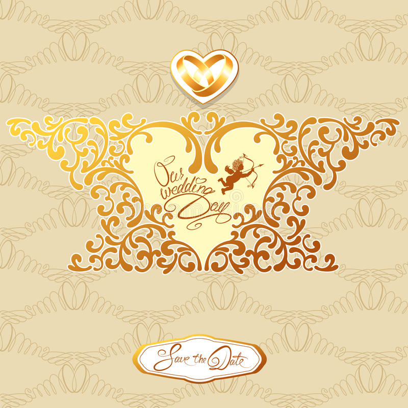 Hochzeitseinladungskarte mit Florenelementen, Rahmen in Herz sha vektor abbildung