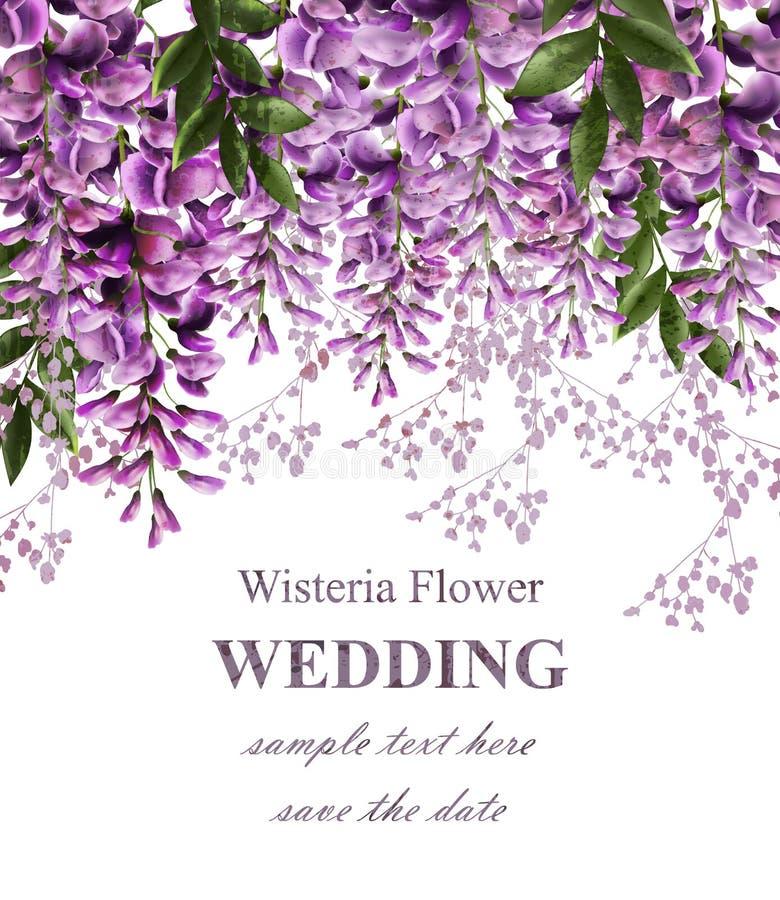 Hochzeitseinladungskarte mit Glyzinie blüht Vektor Schöner Blumendekor Herrliche Naturschönheitsdesigne stock abbildung