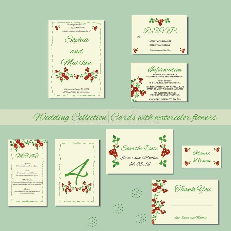 Hochzeitseinladungskarten mit Aquarellelementen stock abbildung