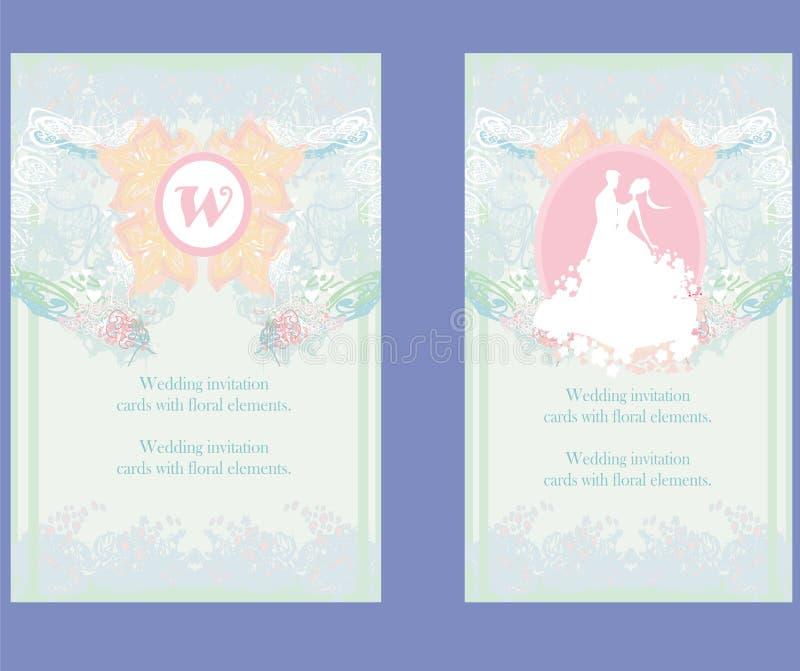 Hochzeitseinladungskarten mit Florenelementen lizenzfreie abbildung