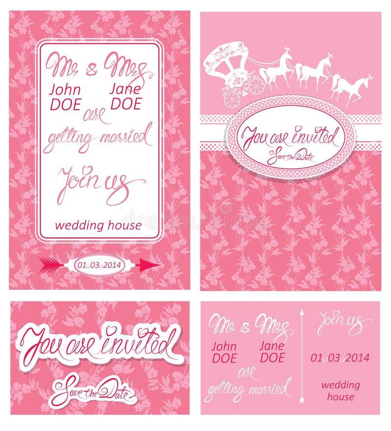 Hochzeitseinladungskarten mit Florenelementen stock abbildung