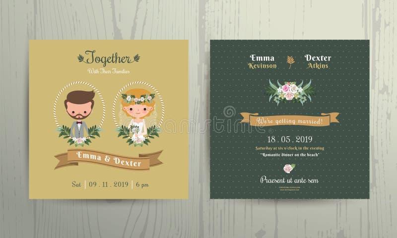 Hochzeitseinladungskartenkarikaturbraut- und -bräutigamporträt lizenzfreie abbildung