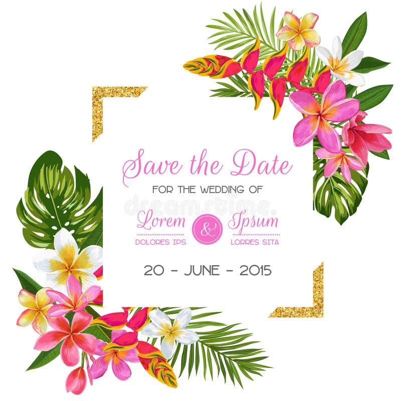 Hochzeitseinladungsschablone Mit Blumen Tropische Blumenabwehr Die ...