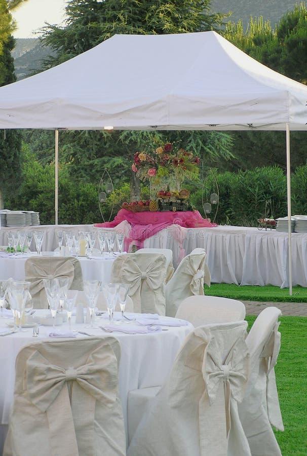 Hochzeitsempfangüberblick stockbild