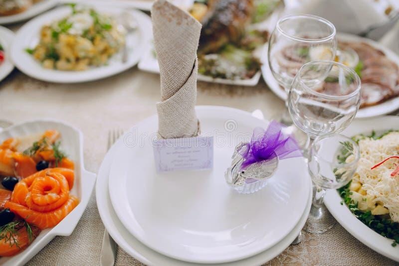 Hochzeitsempfangdekorlebensmittel stockfotografie