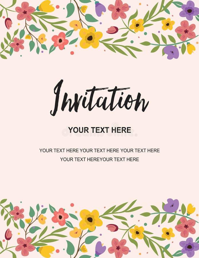 Hochzeitsfest-und Jahrestags-Einladungs-Karten-Schablone Bunter Blumenillustrations-Vektor-kreatives Design lizenzfreie abbildung