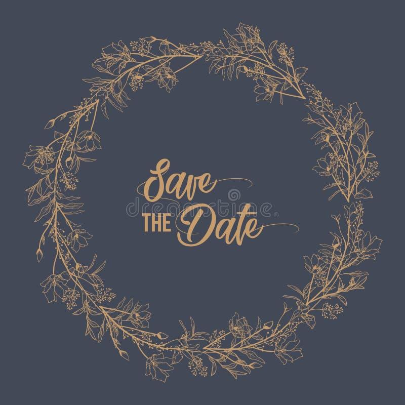 Hochzeitsfesteinladung und speichern die Datumskartenschablonen mit der Maiglöckchenblumenhand, die mit schwarzen Tiefenlinien au lizenzfreies stockfoto