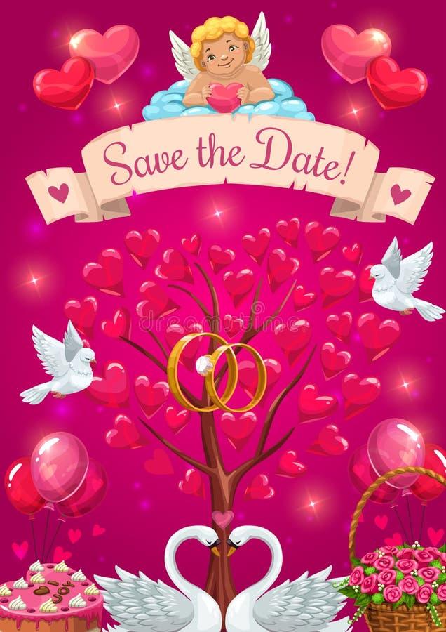 Hochzeitsfestkarte Speichern Sie das Datum, den Amor und die Vögel lizenzfreie abbildung