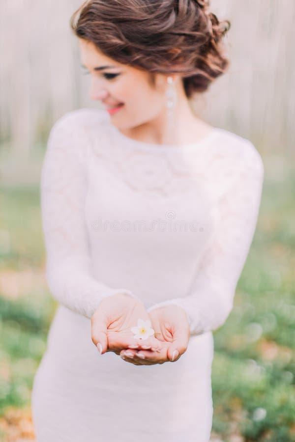 Hochzeitsfoto des schönen Brautmädchens mit den roten Lippen und dem dunklen gewellten Haar, Porträt der Schönheit im Freien stockfoto