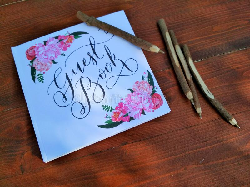 Hochzeitsgastbuch stockfotografie